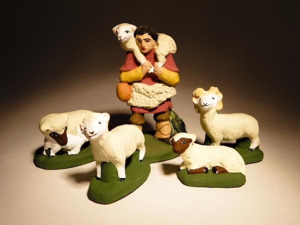 Berger à l'agneau en 7 cm avec 4 moutons