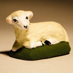 Mouton Couché Blanc pour santons de 7 cm