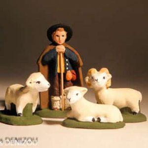 Santon de Berger jeune et ses Moutons 4cm