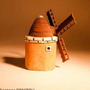 Mini Moulin Daudet en Plâtre pour santons puces (2 cm)